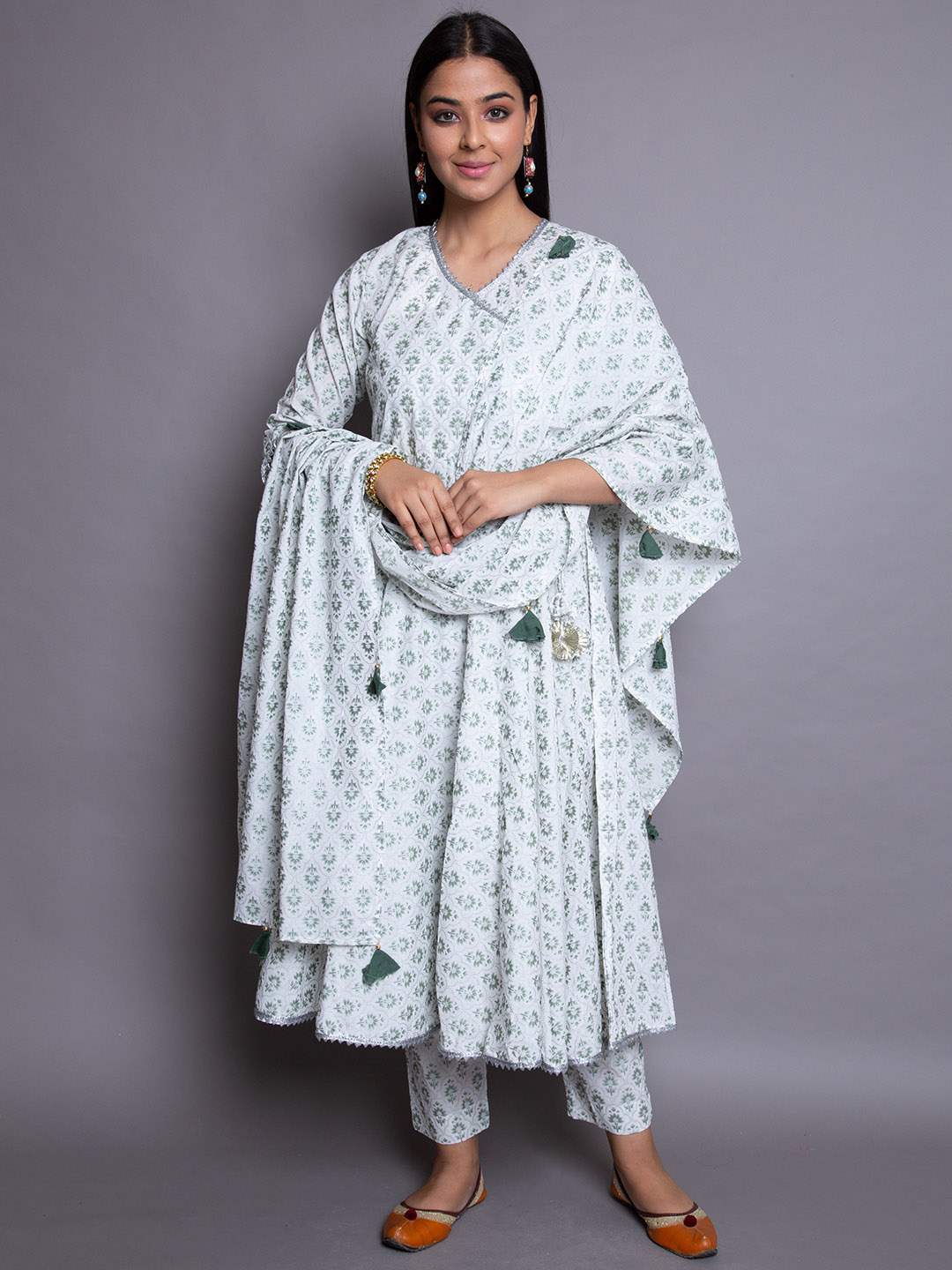 White Frock Suit With Dupatta