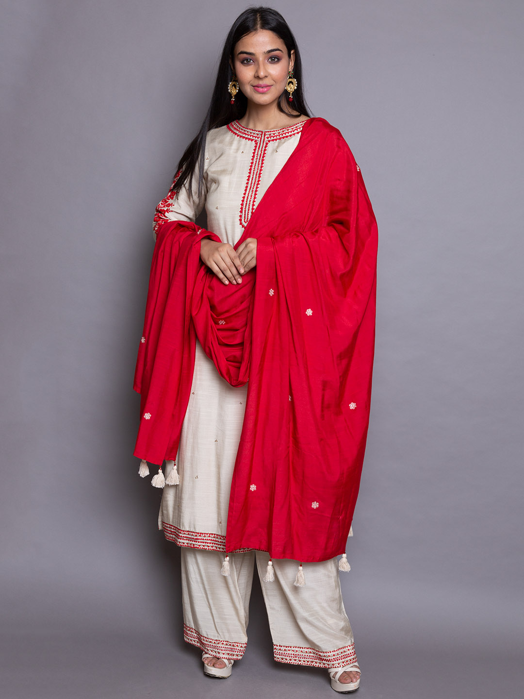 Cotton suit with red silk dupatta