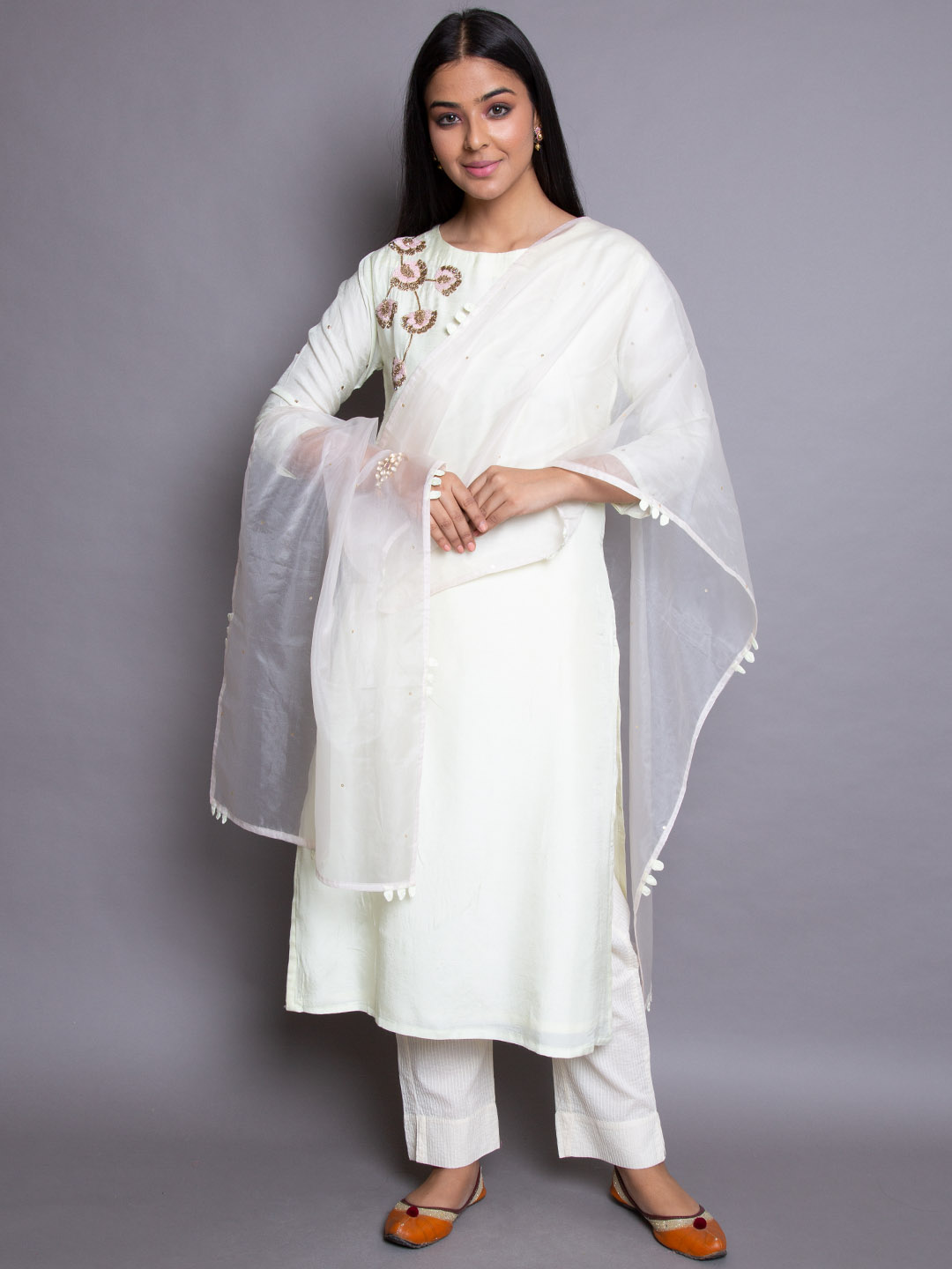 Creamish Embroidery suit