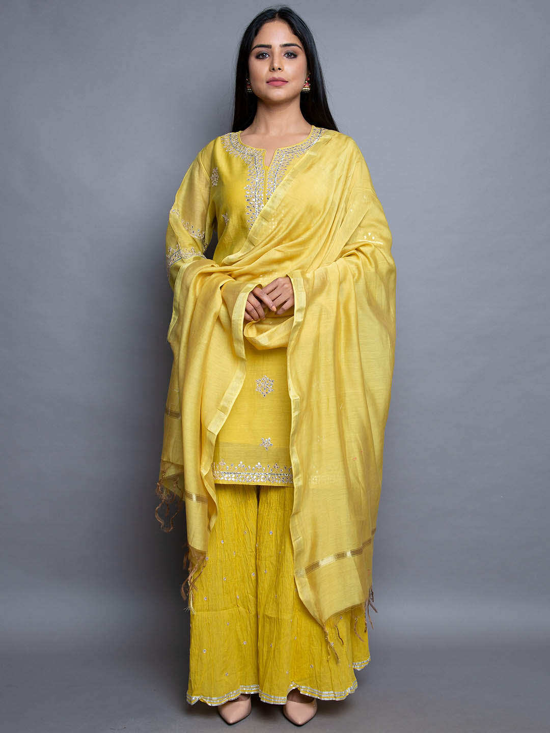 MUSTURD SHARARA SUIT WITH GOTA EMBROIDERY
