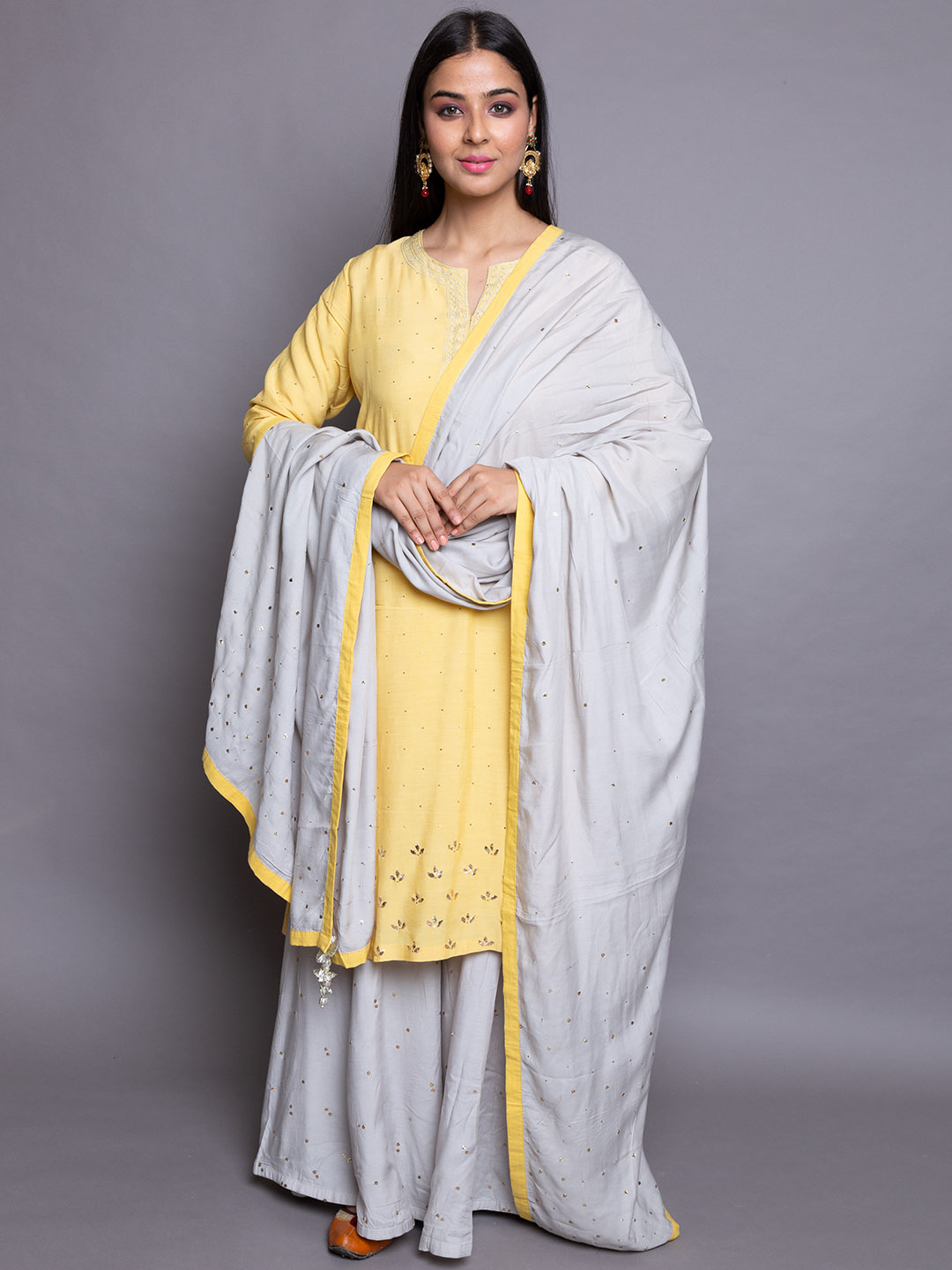 Silk Suit with Plazzos