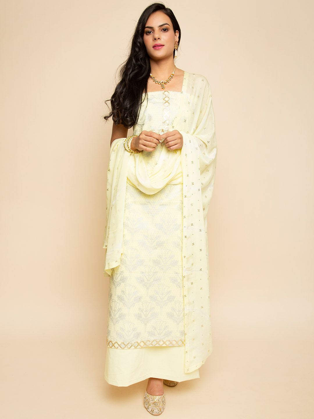 PRINTED GOTA EMBROIDERY SUIT