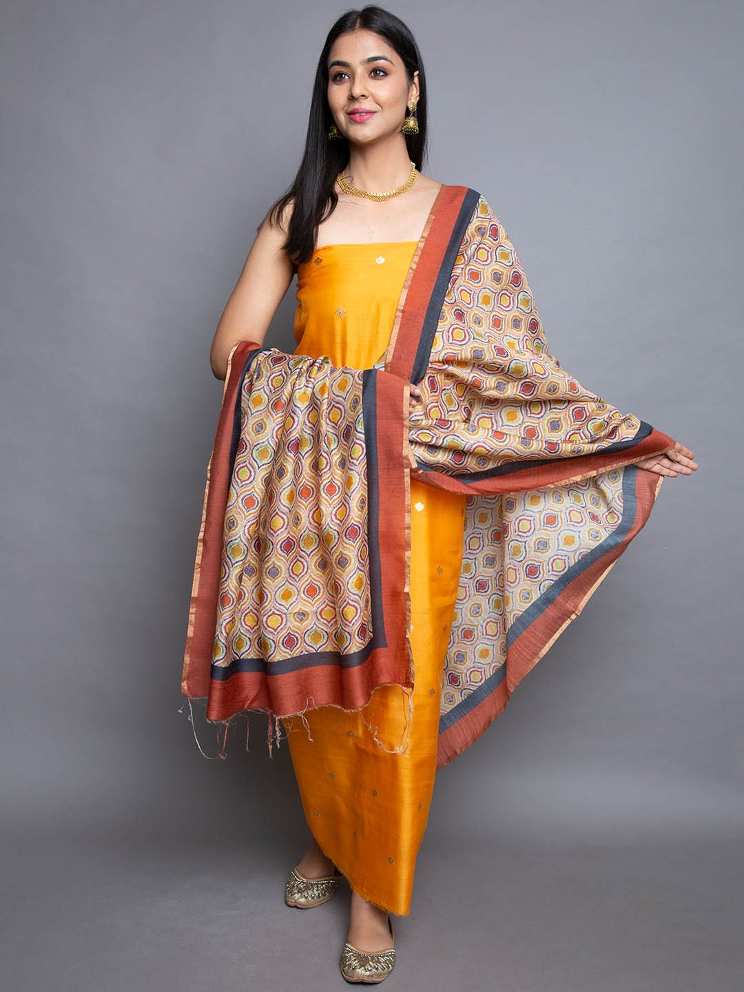 Cotton Suit With Printed Dupatta