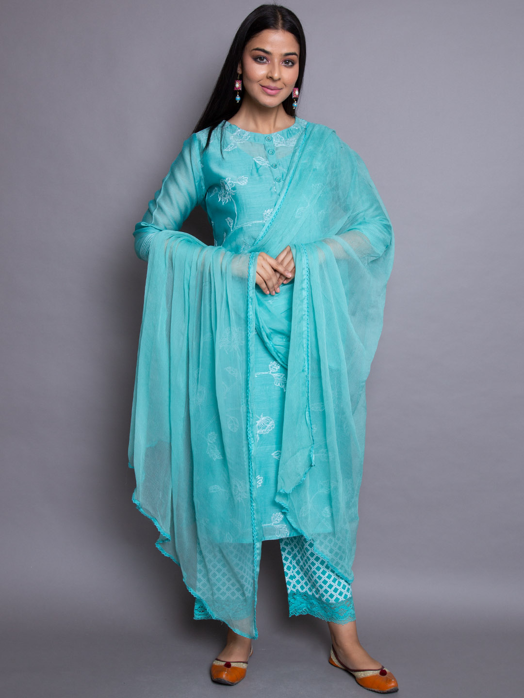Chanderi Embroidery Suit With Printed Plazzo