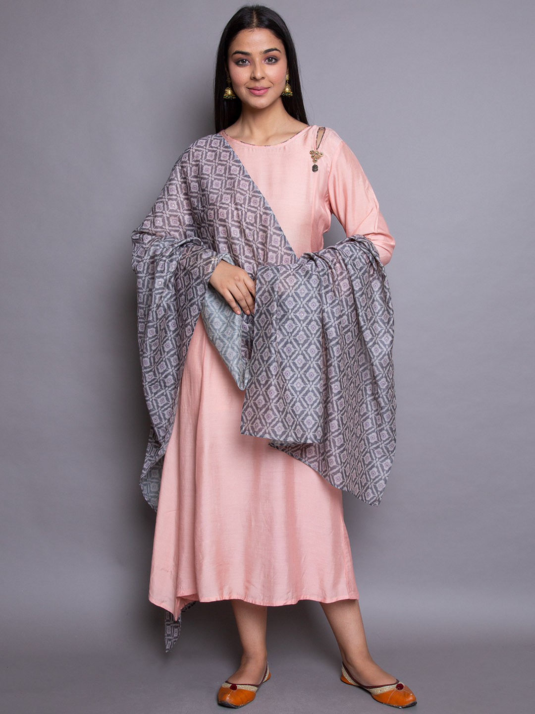 Pink Suit With Grey Dupatta