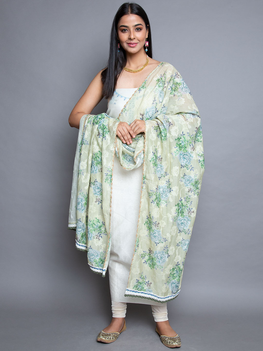 Sea Green Suit With Dupatta