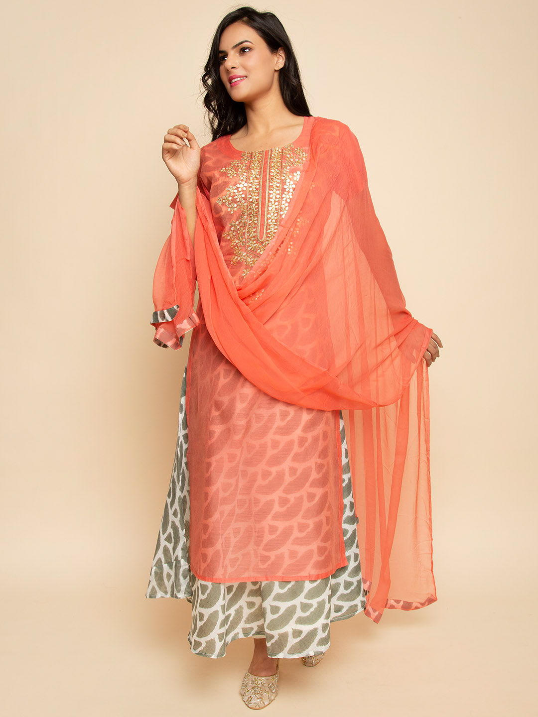 Chanderi gown with gota embroidery
