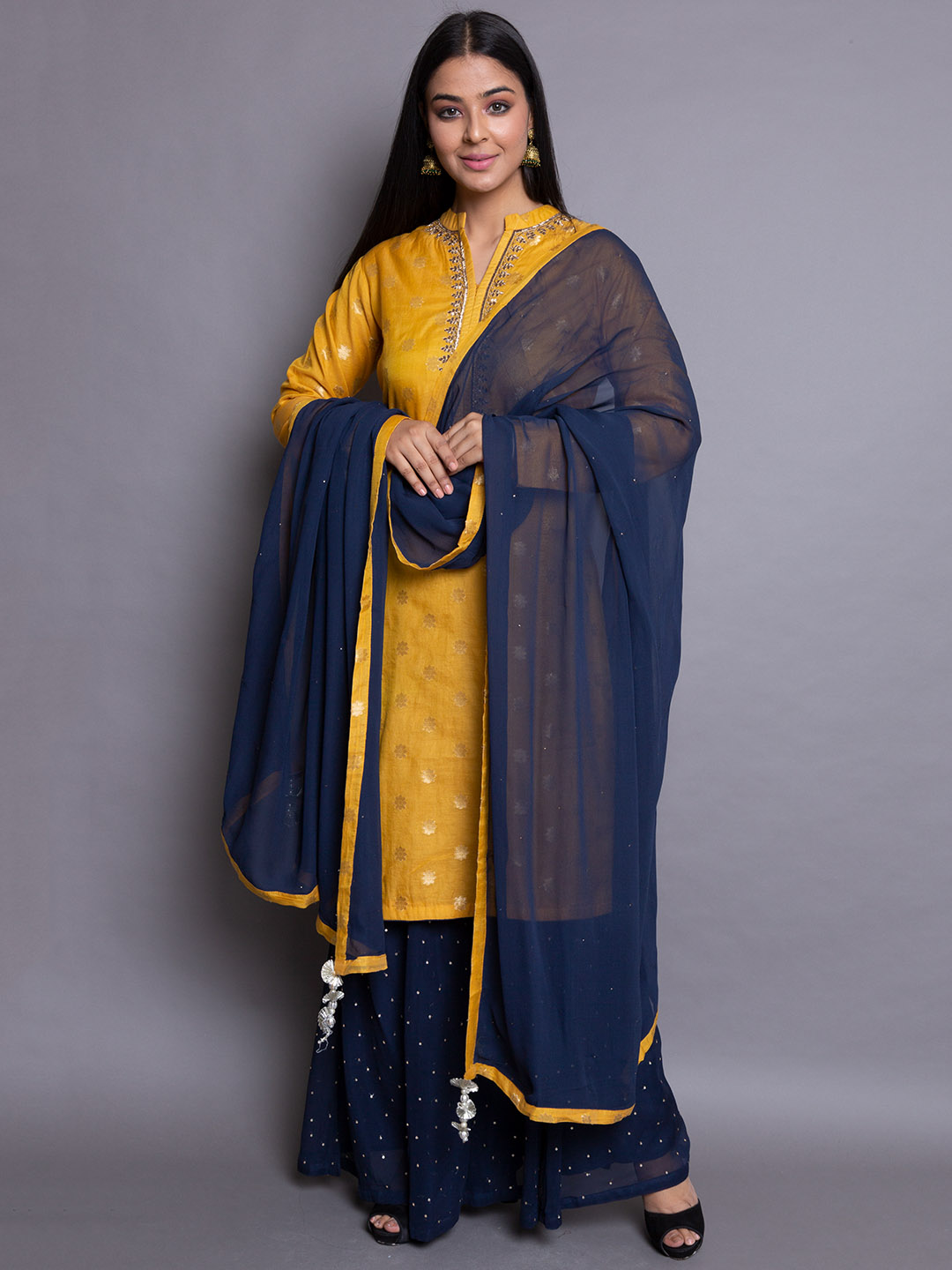 Zari Suit With Sequence Plazzo