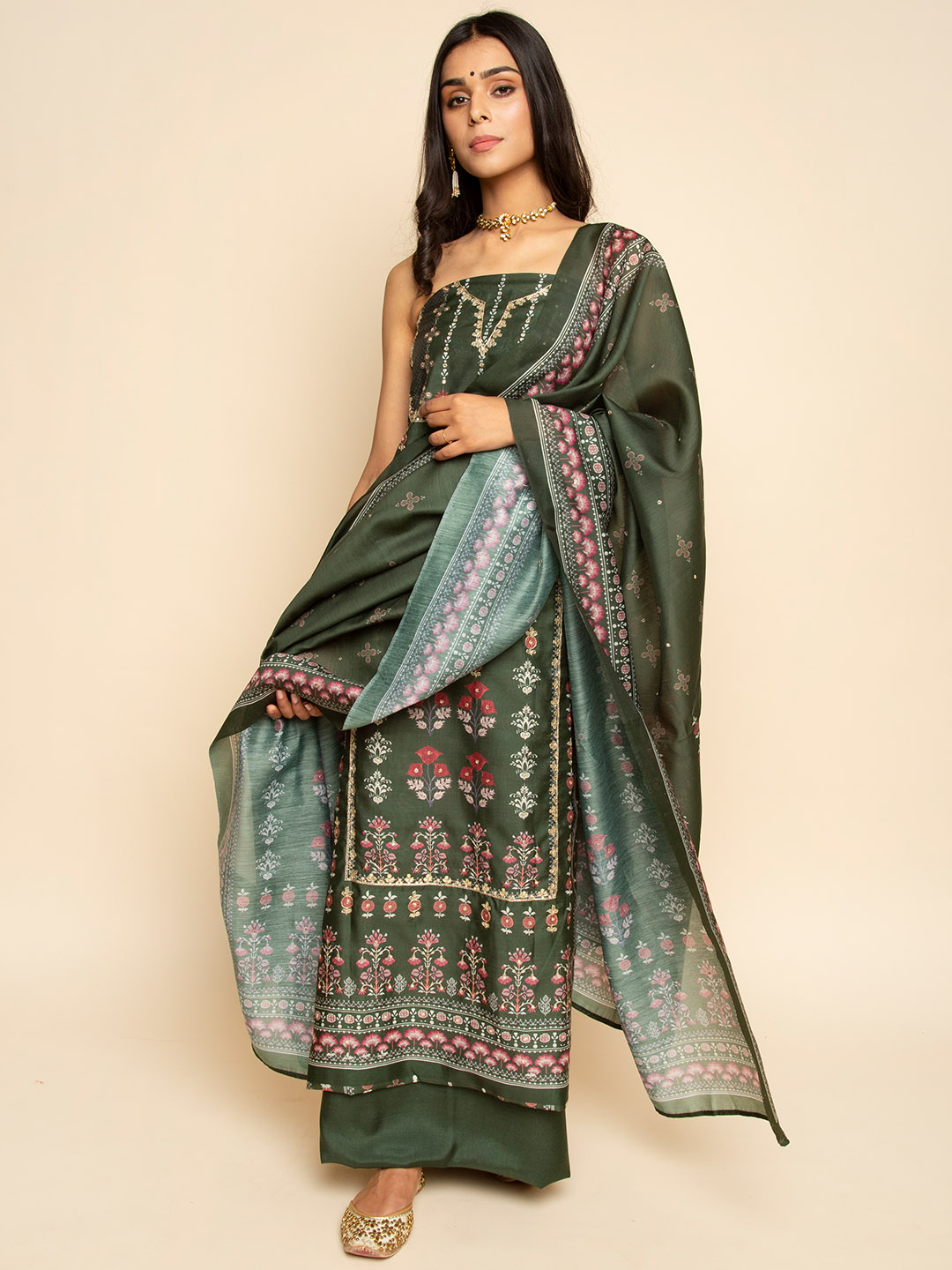 CHANDERI PRINTED GOTA EMBROIDERY SUIT