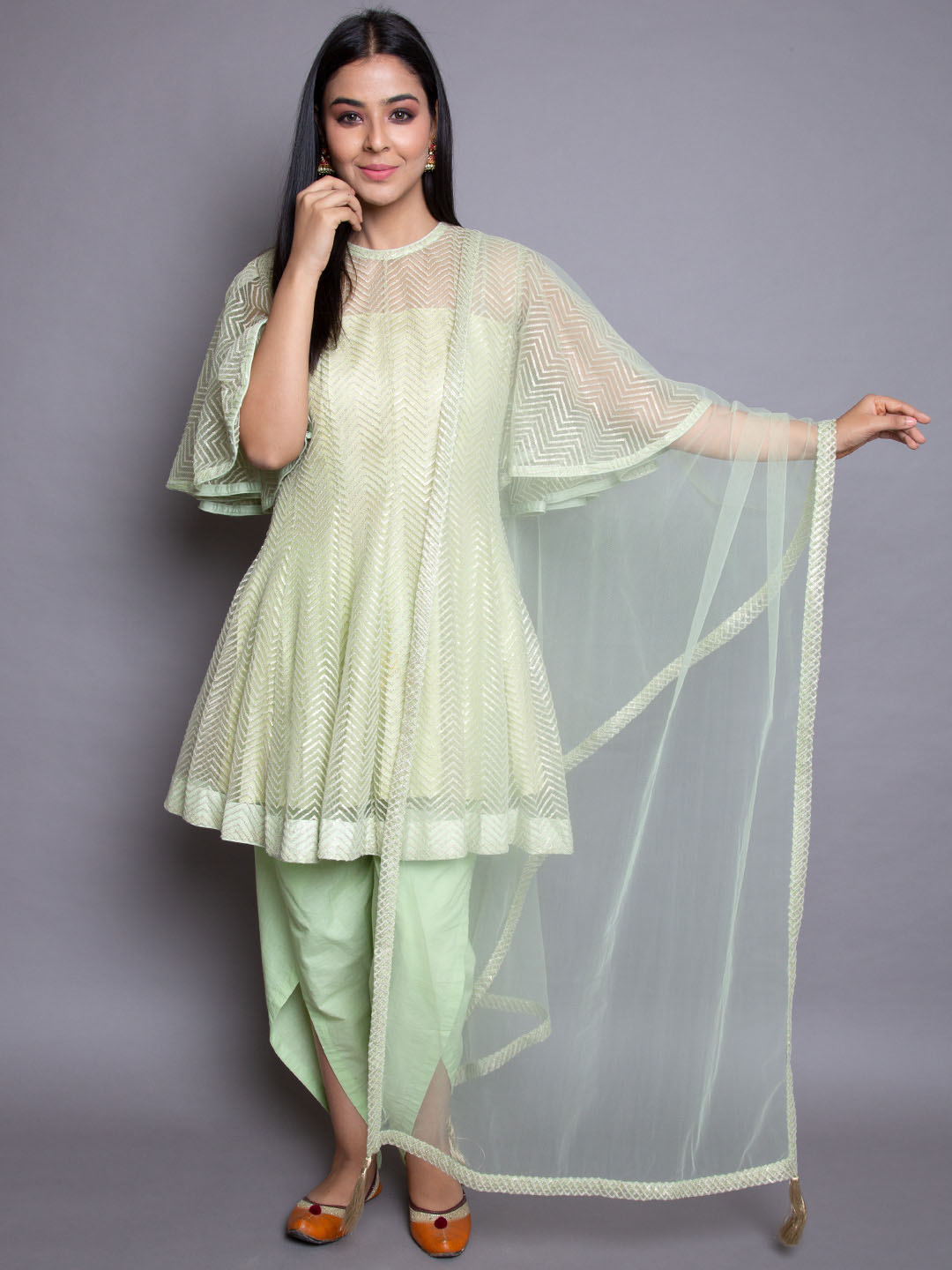 Sequence Emboidery Suit With Cotton Dhoti