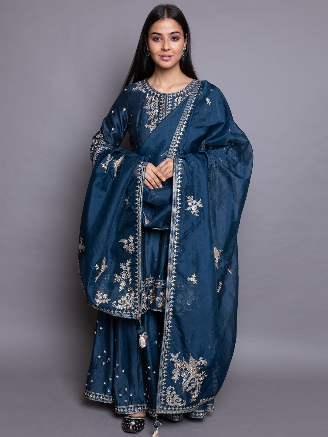 Blue Embroidery Suit With Sharara