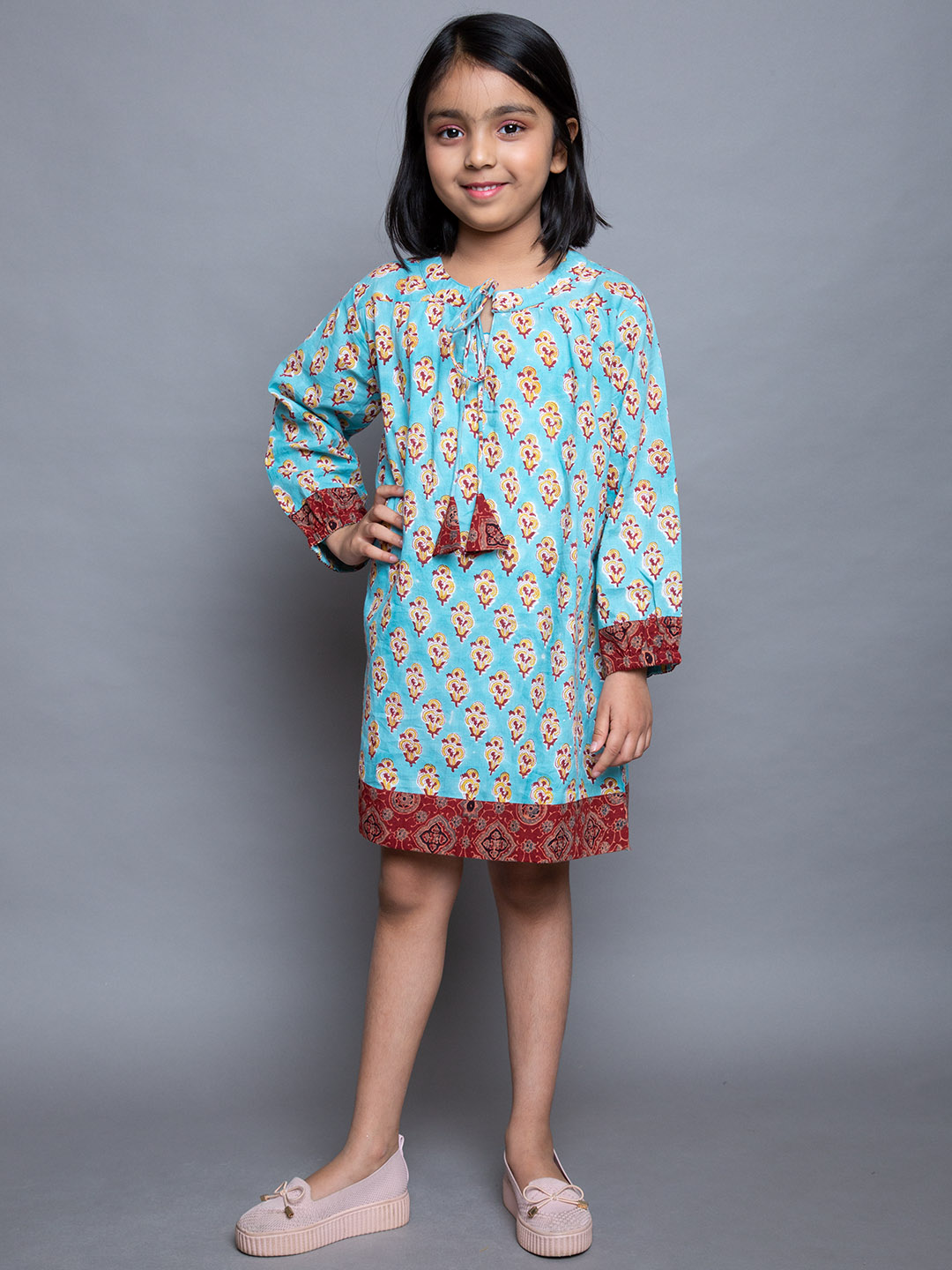 Cotton PRINTED BLUE DRESS WITH PRINT WORK