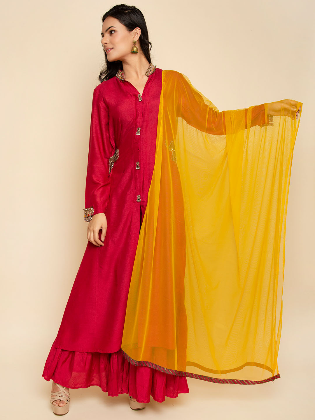 Elephant Embroidery  Pure Silk Suit