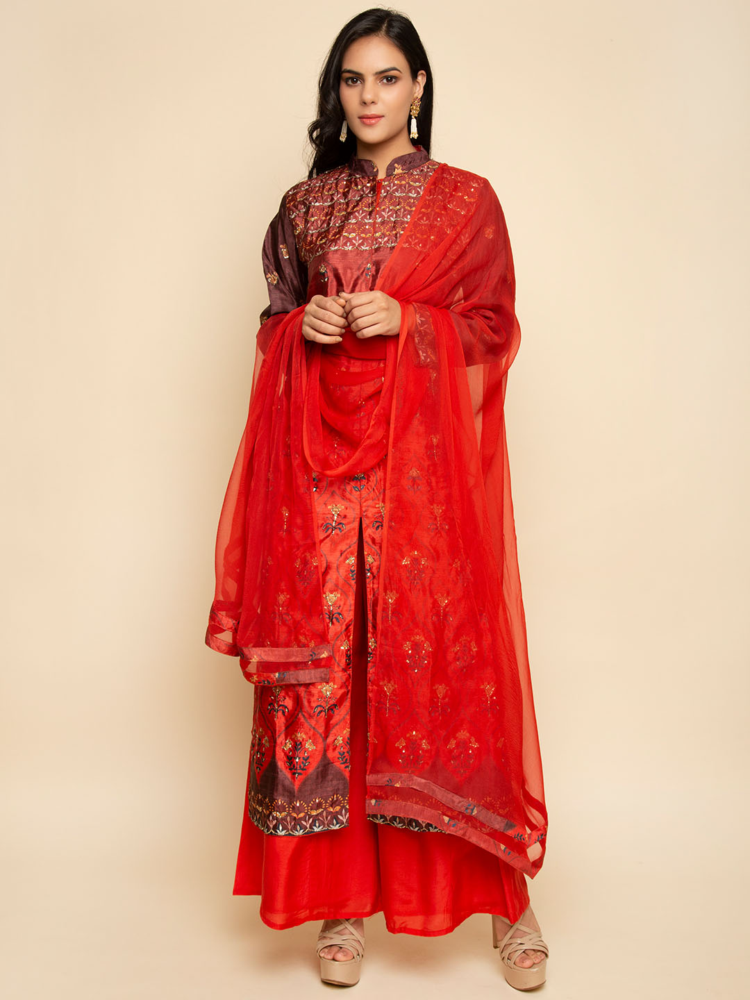 MAROON EMBROIDERY LONG DRESS WITH DUPATTA