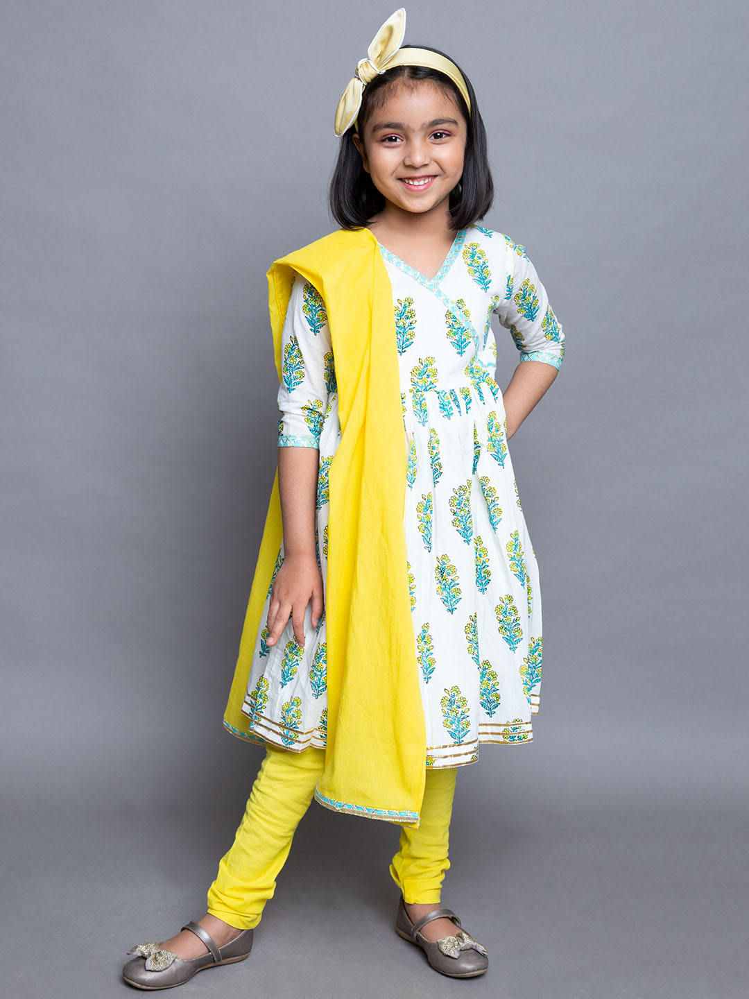 Floral Printed Frock  suit with yellow leggings and dupatta