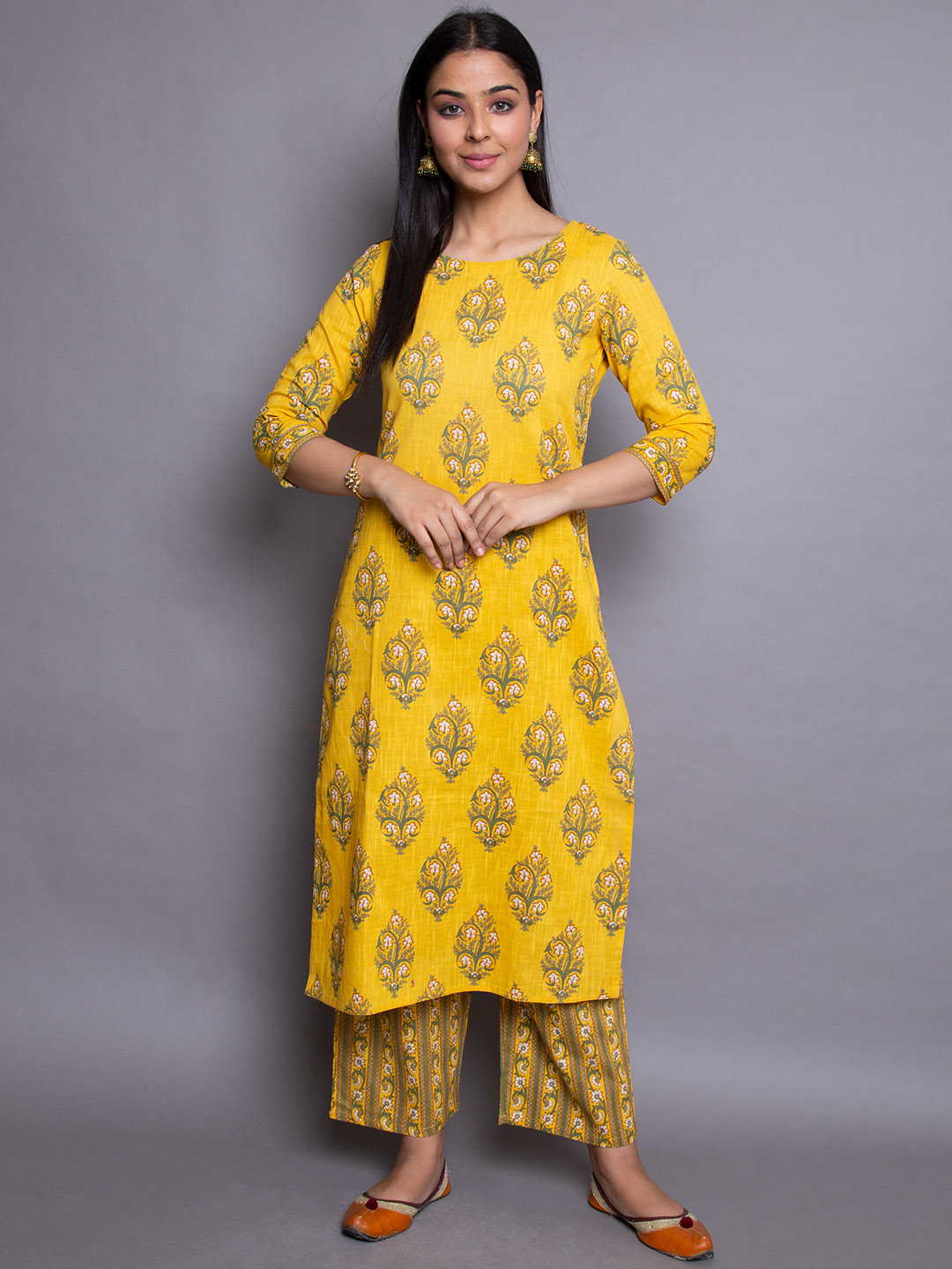 Yellow Cotton Printed Suit