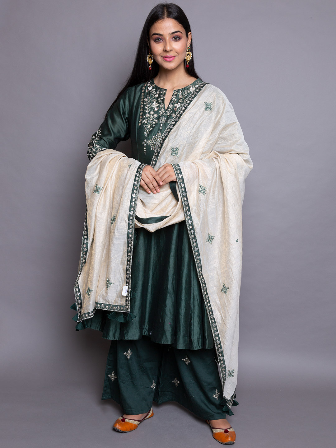 ZARI EMBROIDERY SUIT WITH  PLAZZO