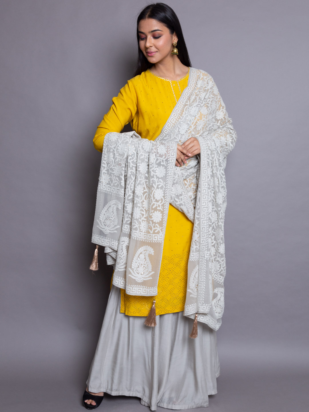 Musturd Yellow Suit With Embroidery Dupatta