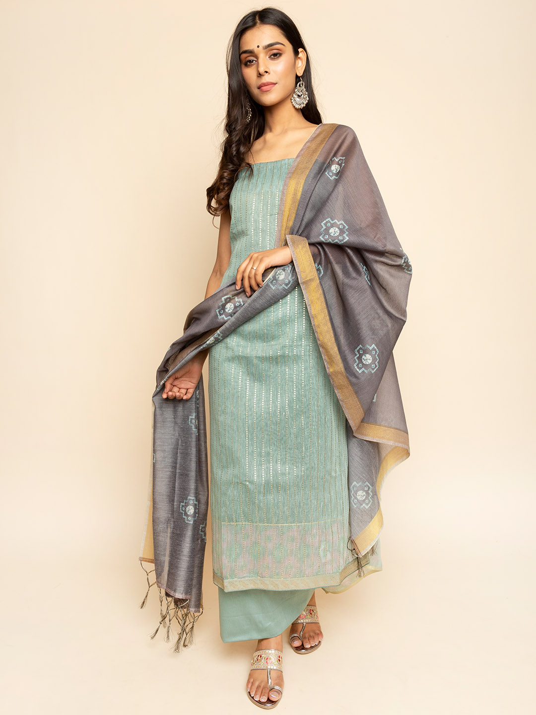 CHANDERI EMBROIDERY SEQUENCE SUIT