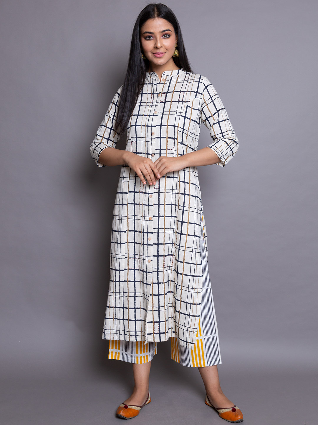 Cotton Suit With Printed Plazzos