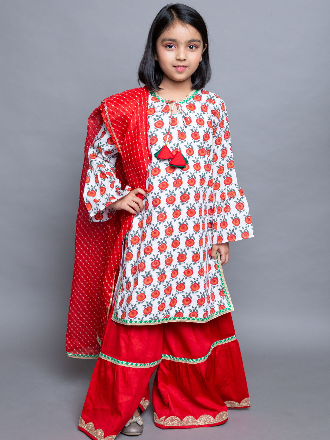 Floral Red White Cotton Printed  Suit with red dupatta and sharara pants
