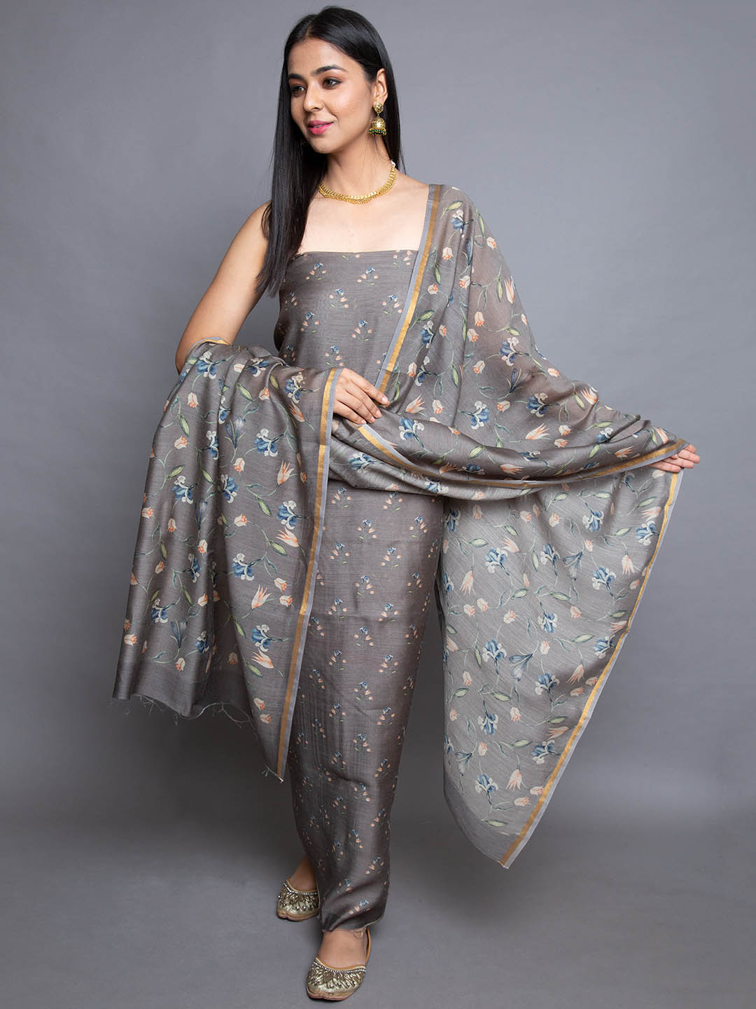 Pure Cotton Suit With Printed Dupatta