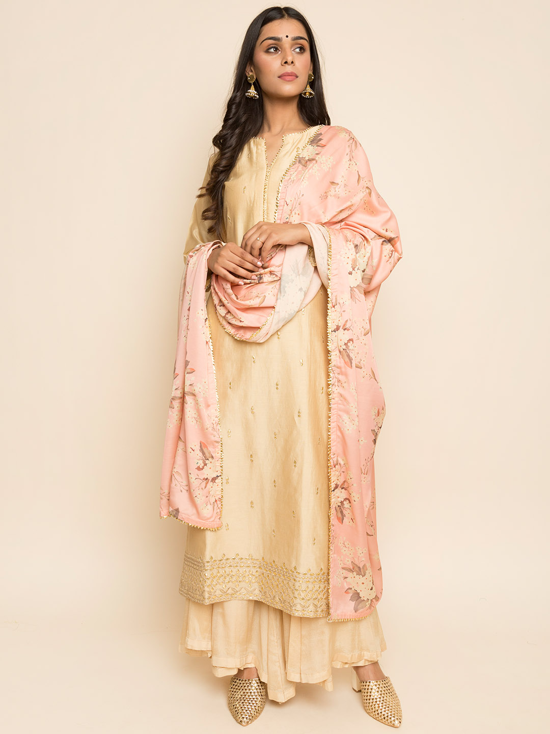 Gota Patti Embroidery Suit With Floral Dupatta