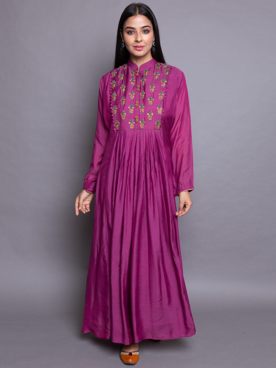 Silk Gown with Embroidery