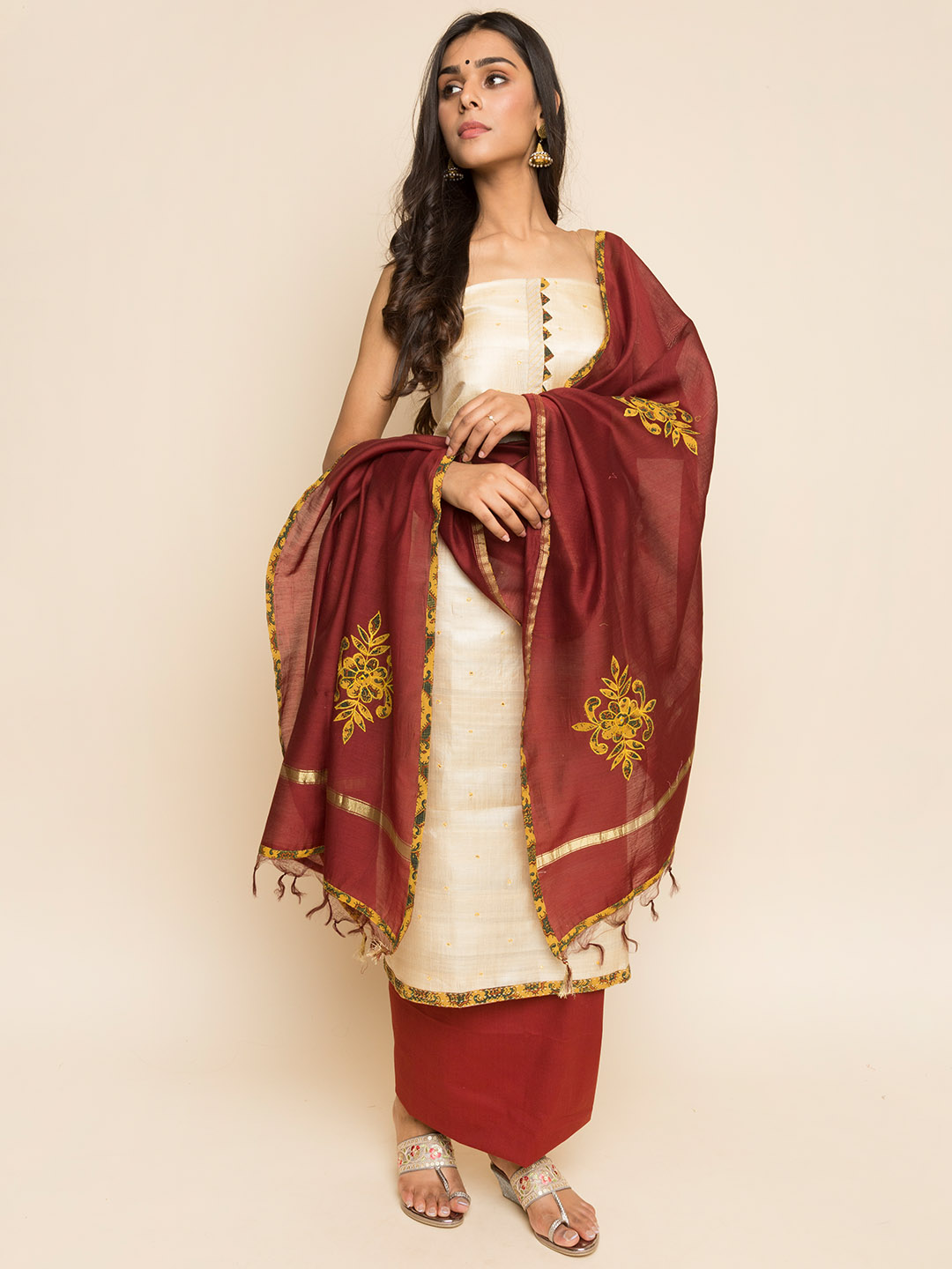 Tussar Handloom Embroidery Suit