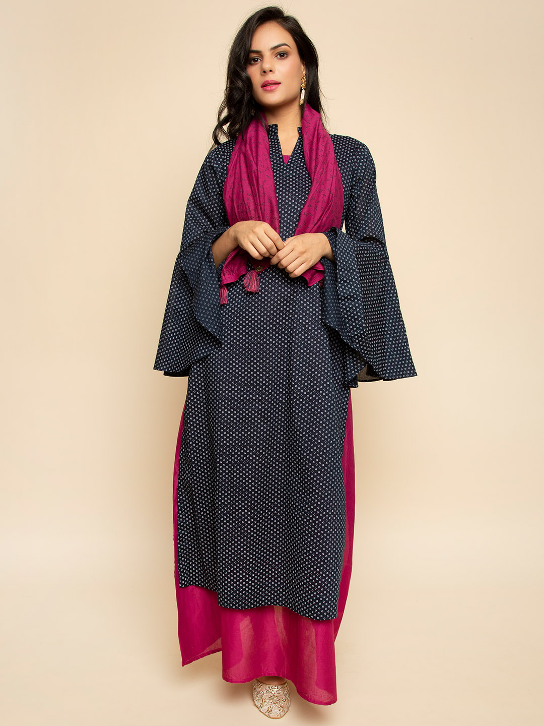 Long cotton  dress with scarf