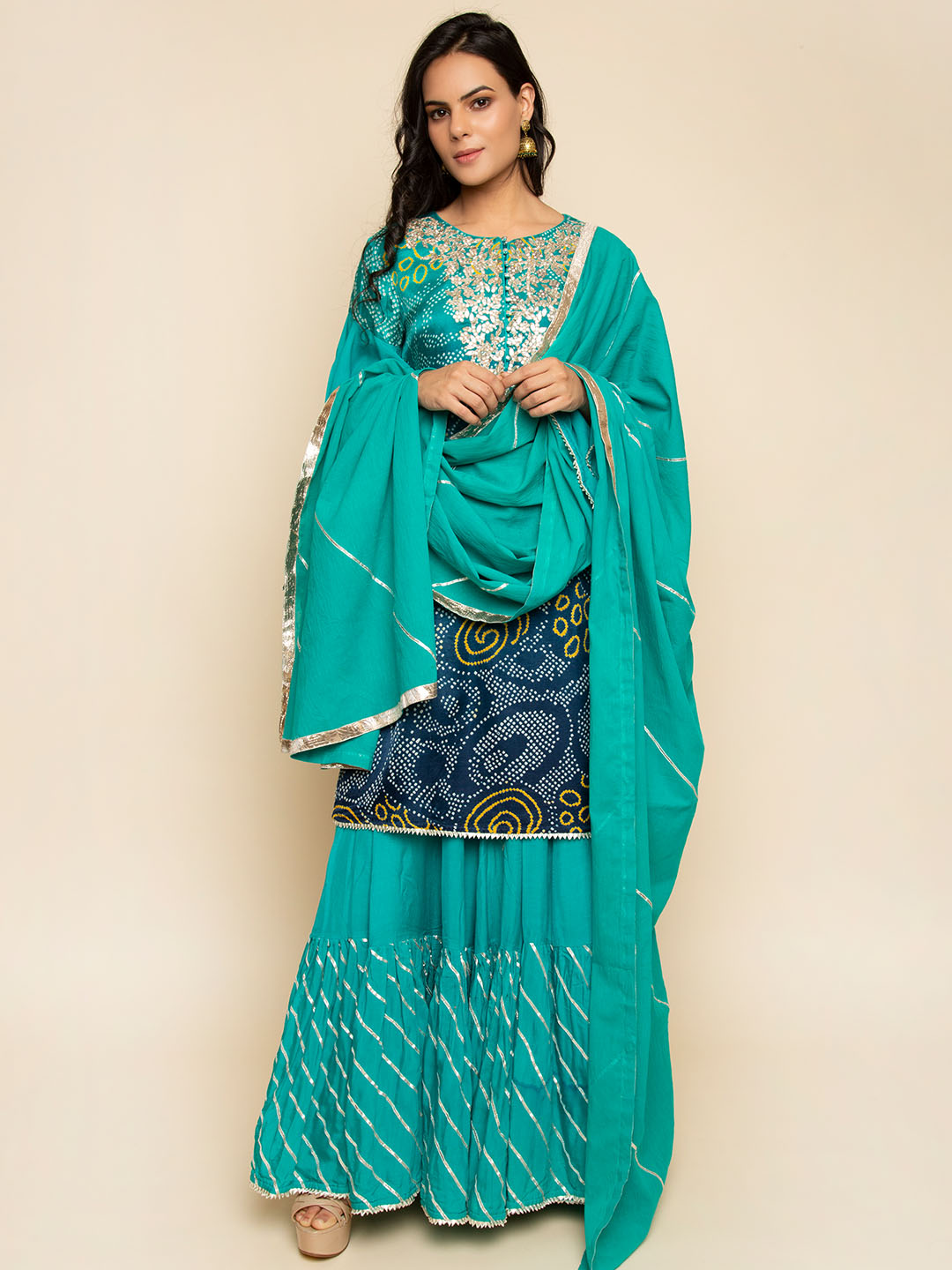 Bandhani Suit With Gota Embroidery