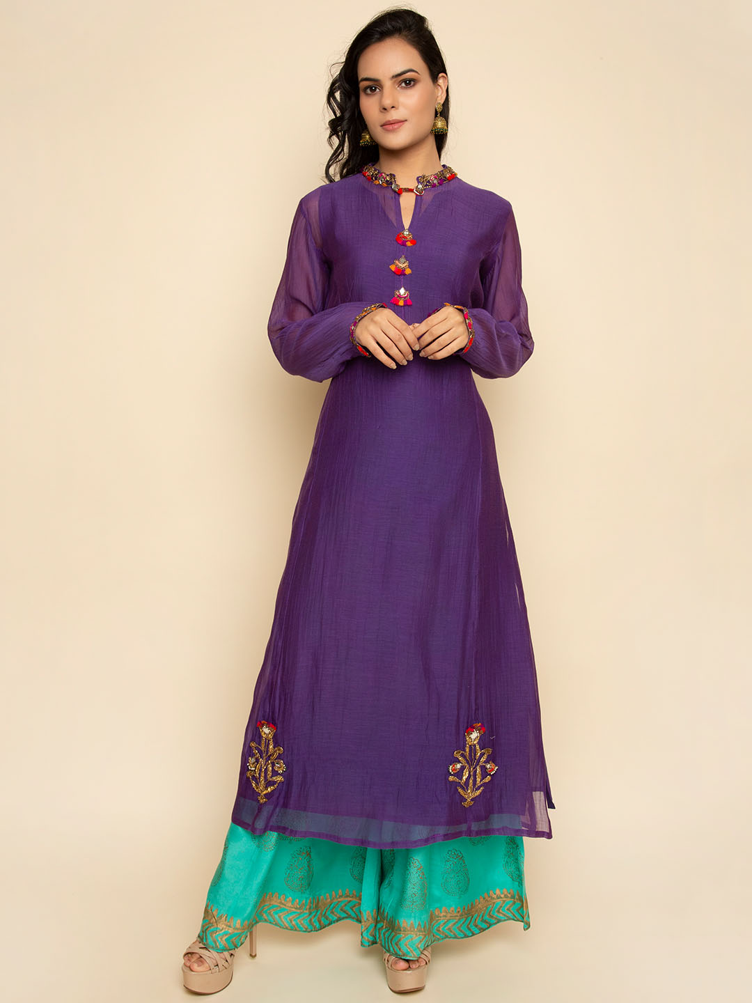 Chanderi hand Embroidery Suit