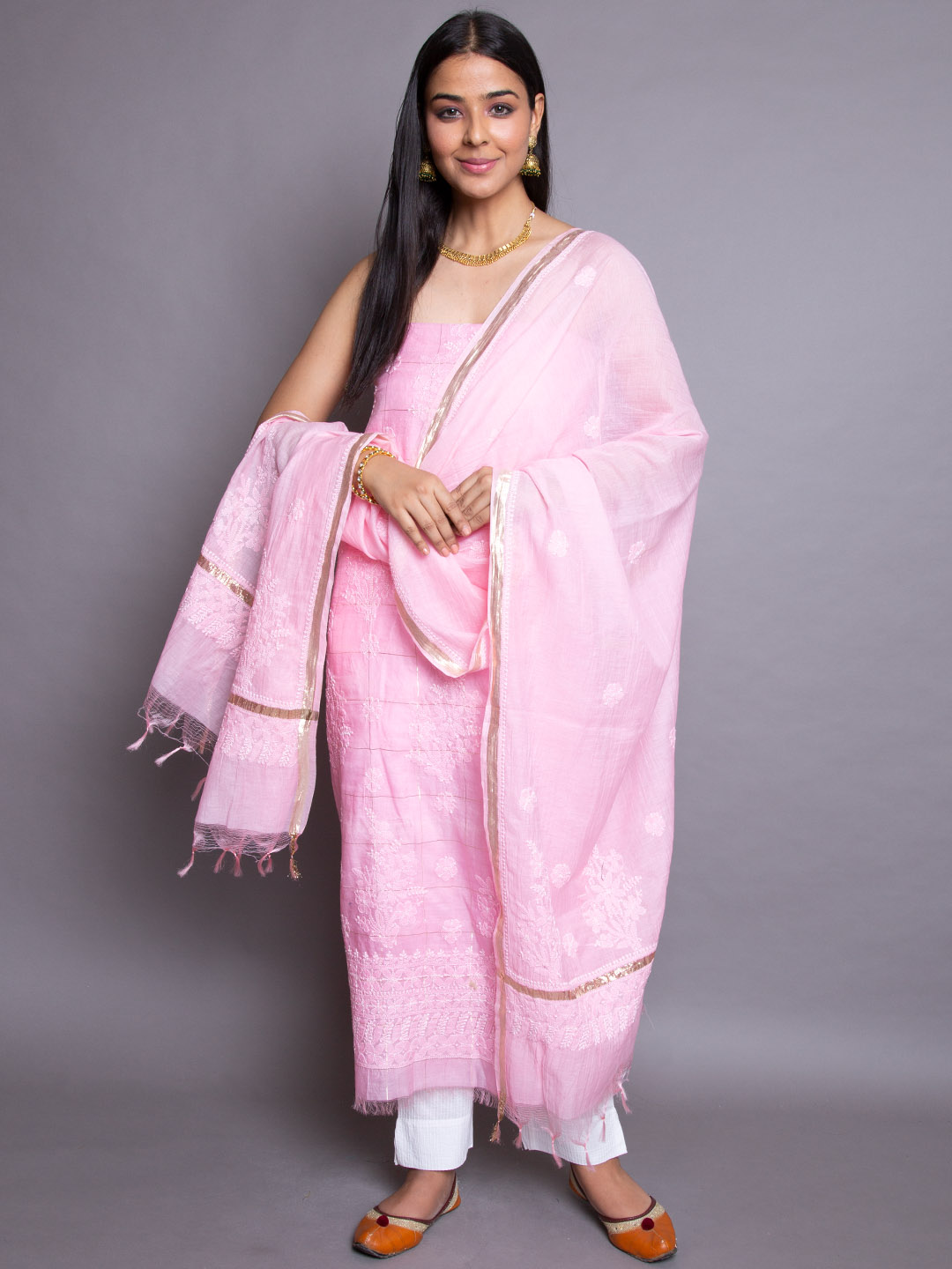 Pinkish Suit With Embroidery Dupatta
