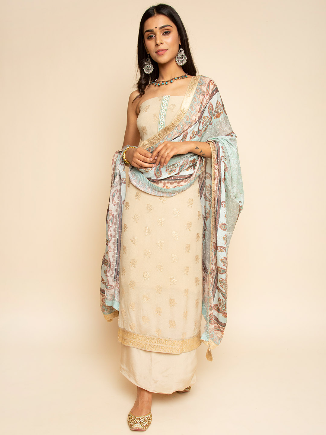 Pure Embroidery Chiffon Suit