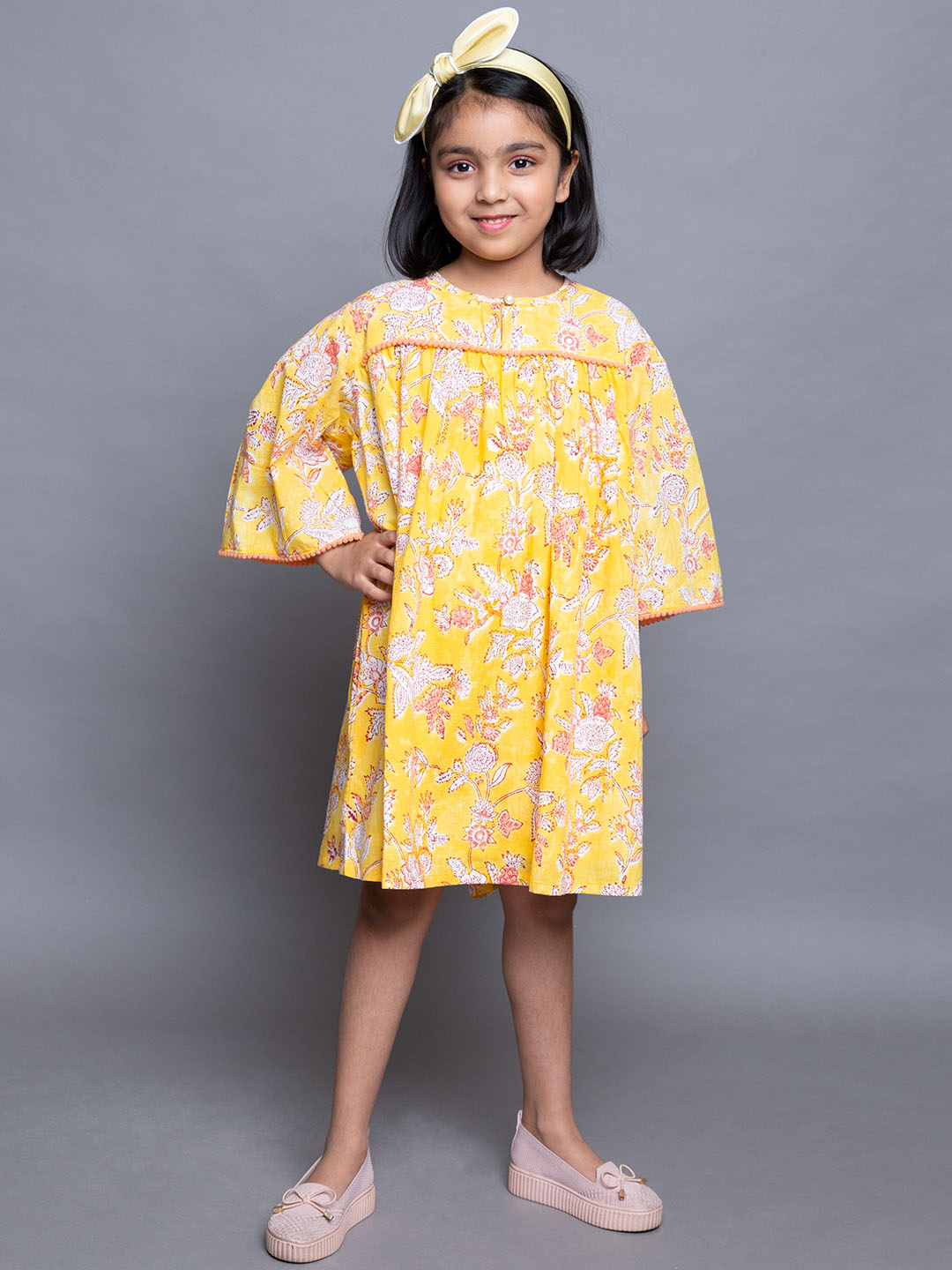 Yellow Floral Printed Frock