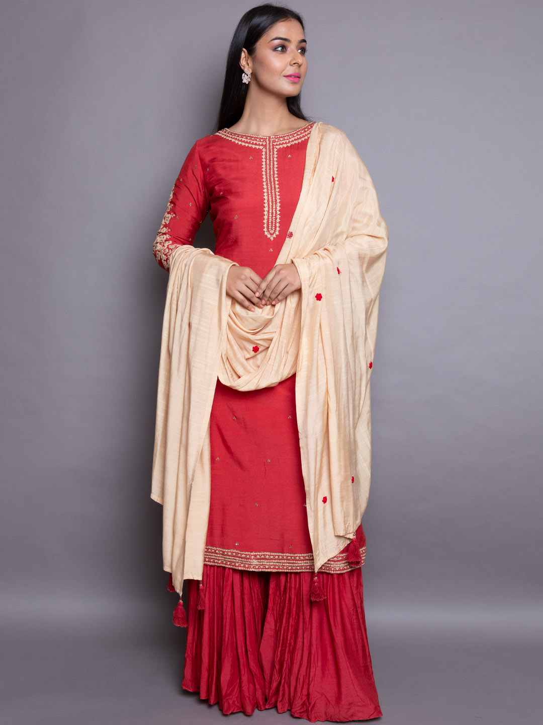 Red Embroidery Suit With Dupatta