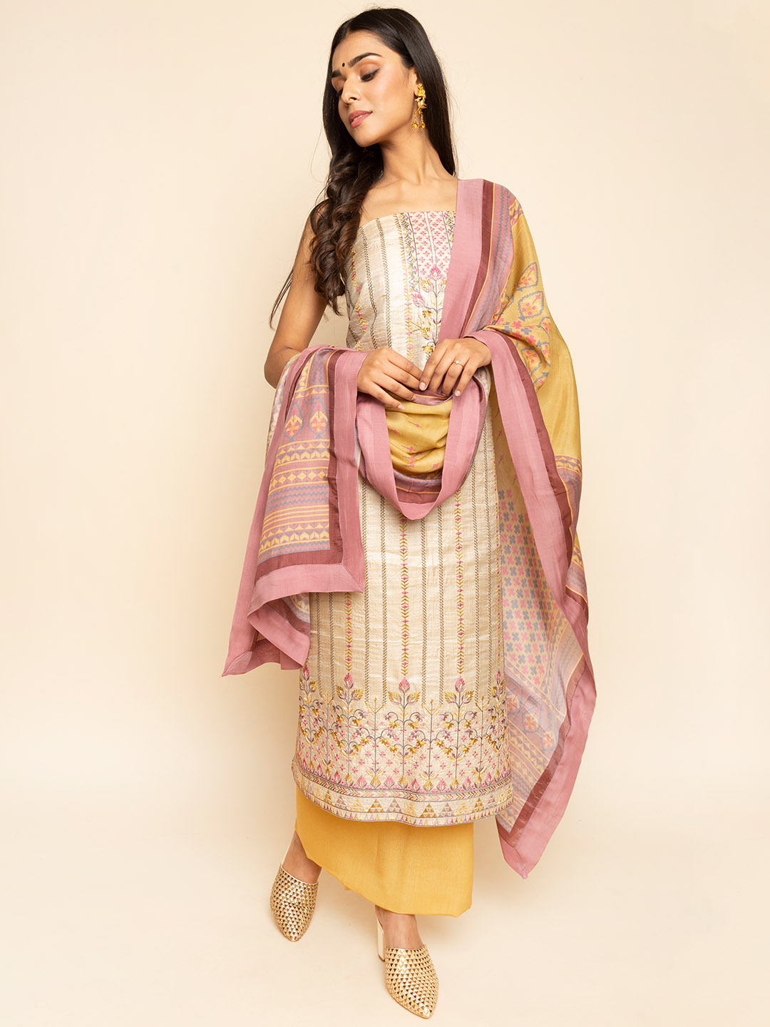 Pure Tussar Embroidery Suit