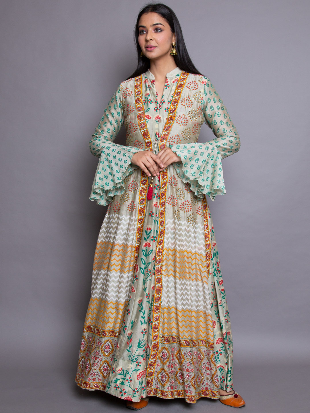 Printed Gown With Frill Sleeves