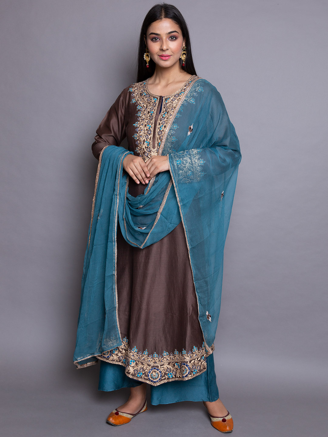 Embroidery Suit with Silk Dupatta