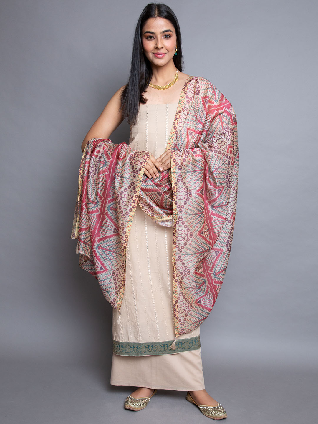 Cotton Mirror Embroidery Suit