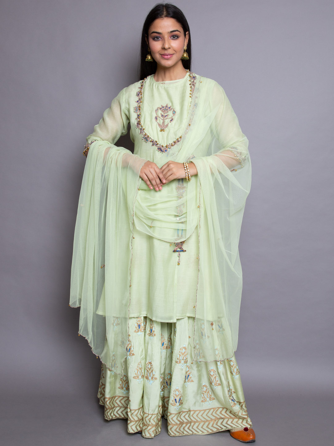 Heavy Embroidery Sharara Suit