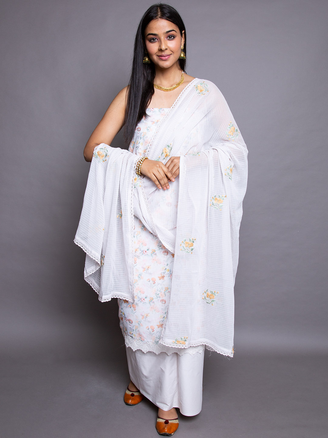 Ikat Suit With Embroidery Dupatta