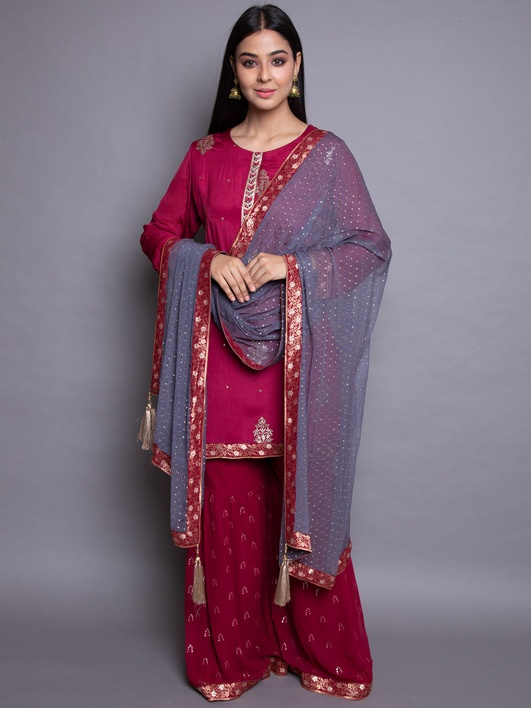Maroon Embroidery Suit With Silk Dupatta