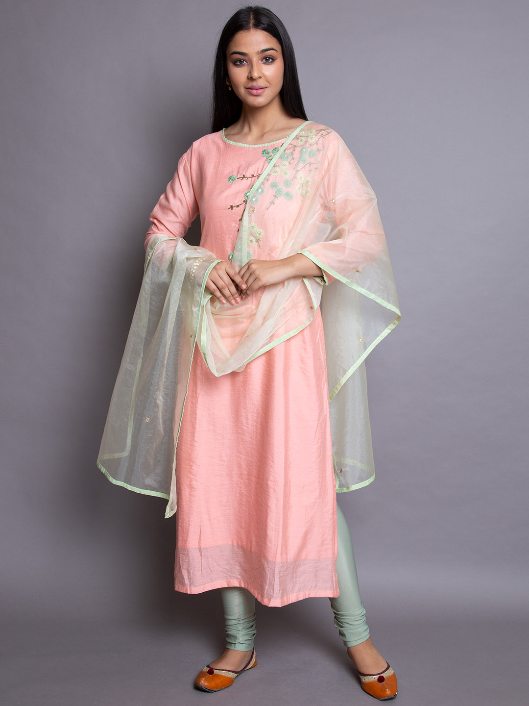 Crepe Silk Embroidery Suit
