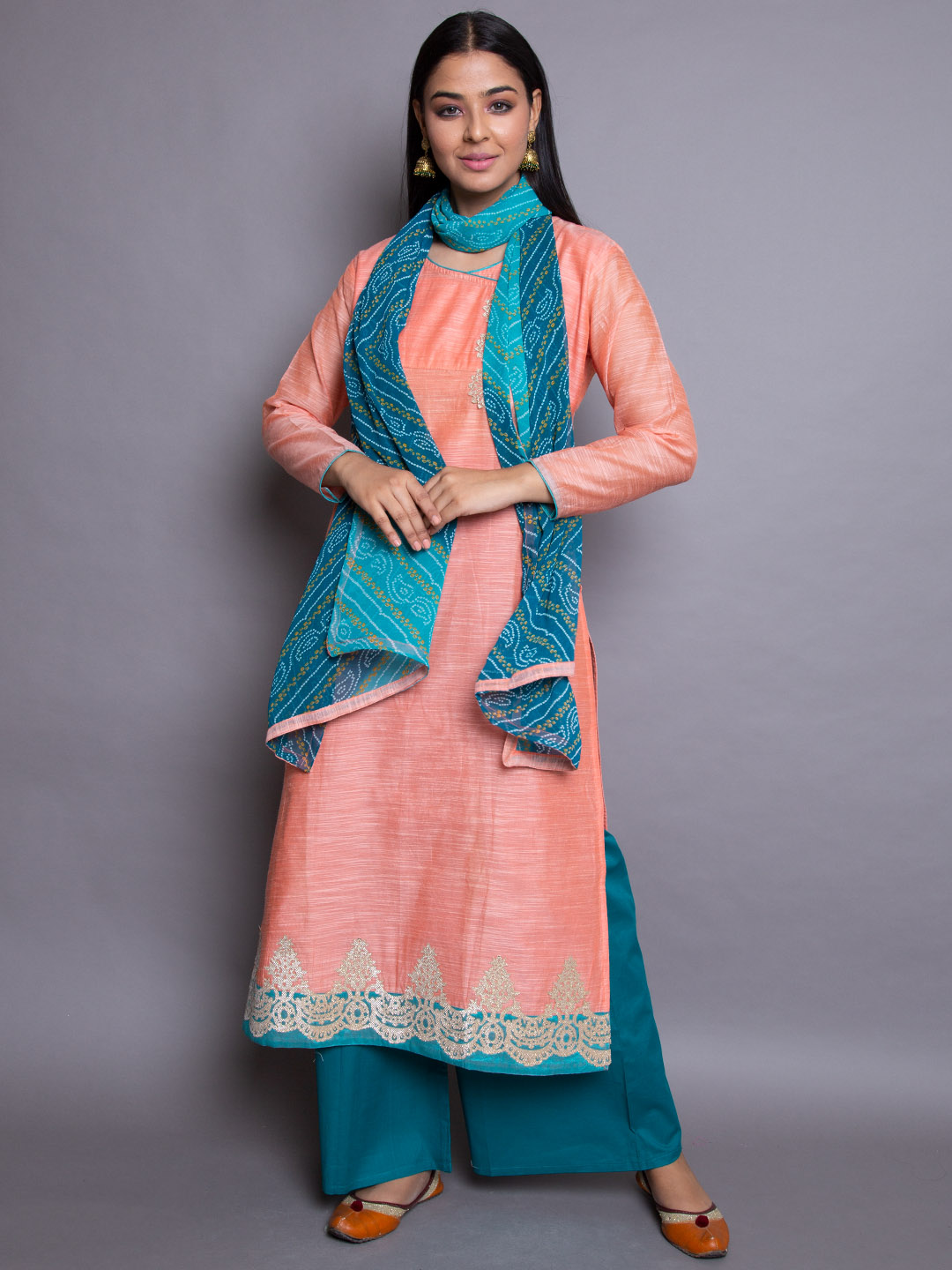 EMBROIDERY SUIT WITH BANDHANI DUPATTA
