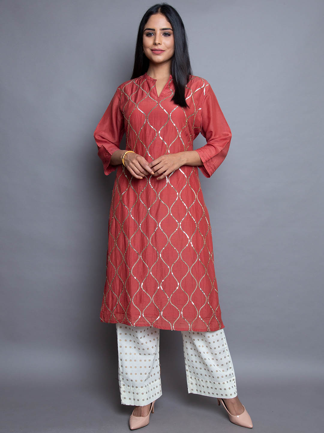 Silk Muslin Sequence Embroidery Suit