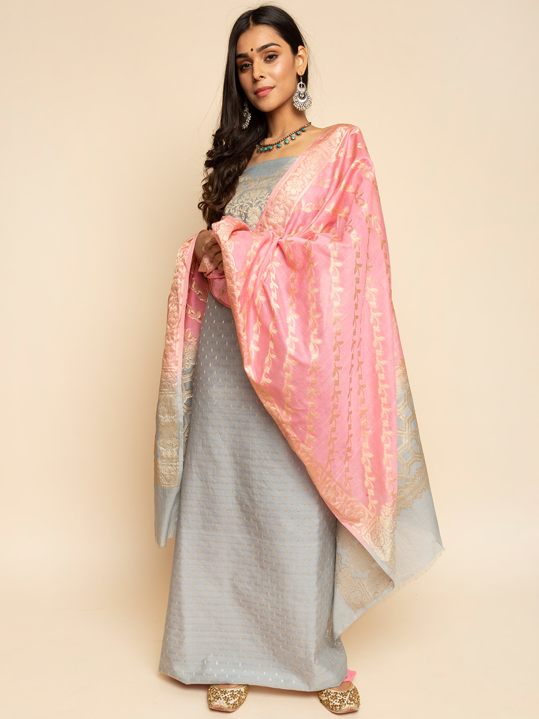 Grey Colour Chanderi Silk Banarsi Suit with heavy embroidered pink Dupatta and straight pants