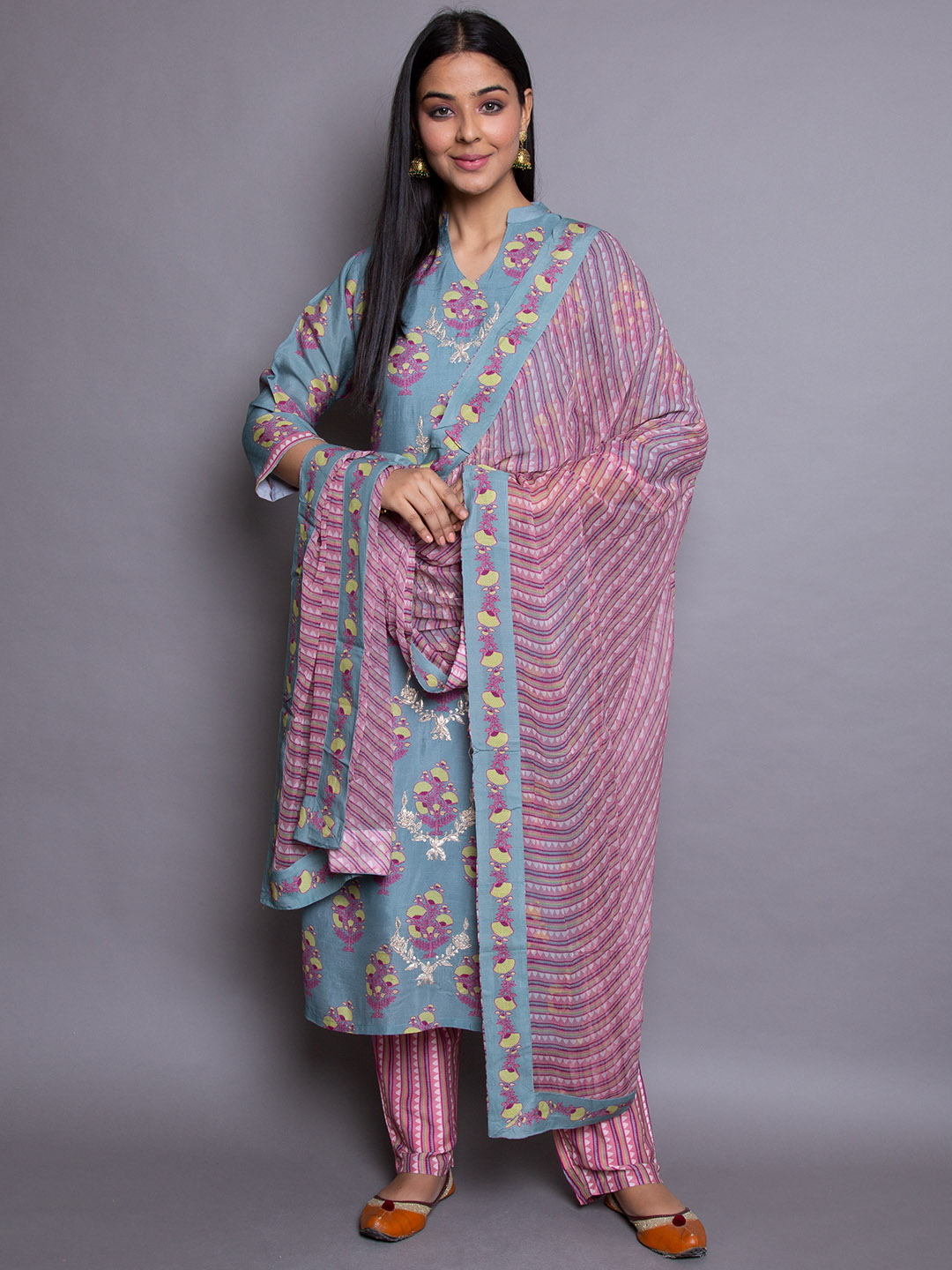 Pure Moonga suit With Print Dupatta