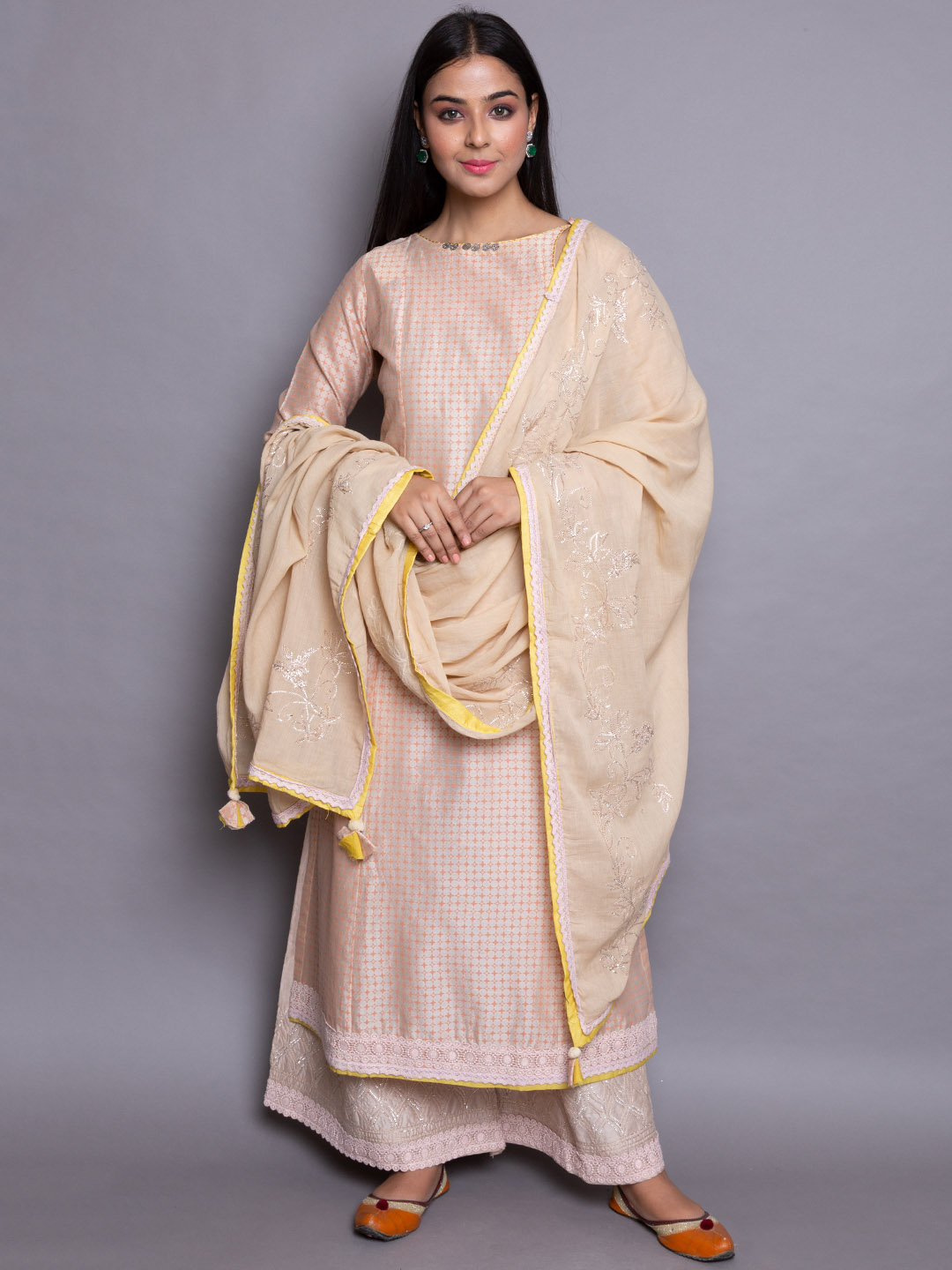 Peach Silk Suit With Embroidery Dupatta