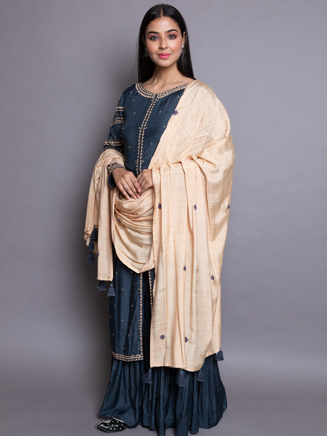 Blue Sharara Suit With Embroidery